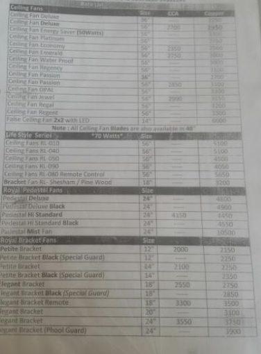 Mist Fan Price List 2017 In Pakistan Pak Fan Super Asia