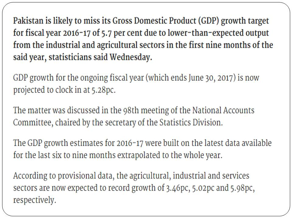 GDP Growth Rate Of Pakistan Target After Budget 2017