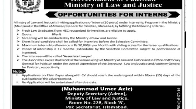 Ministry of Law and Justice Internship 2017 Islamabad Government Of Pakistan For Fresh Graduates