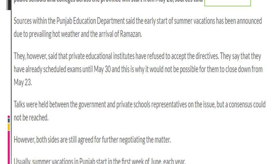 Punjab Education Department Summer Vacation Notification