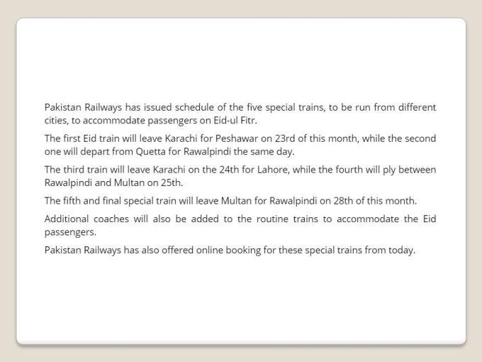 Pakistan Railway Eid Special Train Schedule