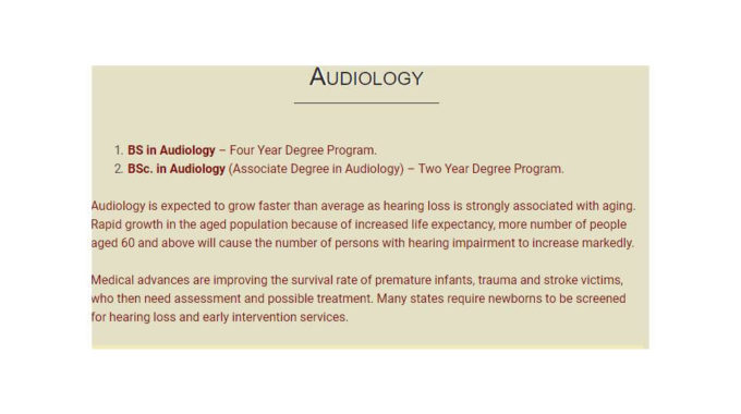 BSc Audiology In Pakistan Admission 2017 Scope Information About It