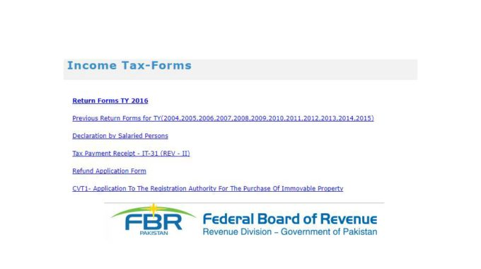Income Tax Return Form 2017 Pakistan With Formula Download FBR Tax Payer