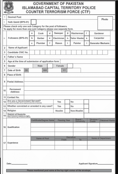 Islamabad Capital Territory Police Jobs Counter Terrorism Force Apply Form