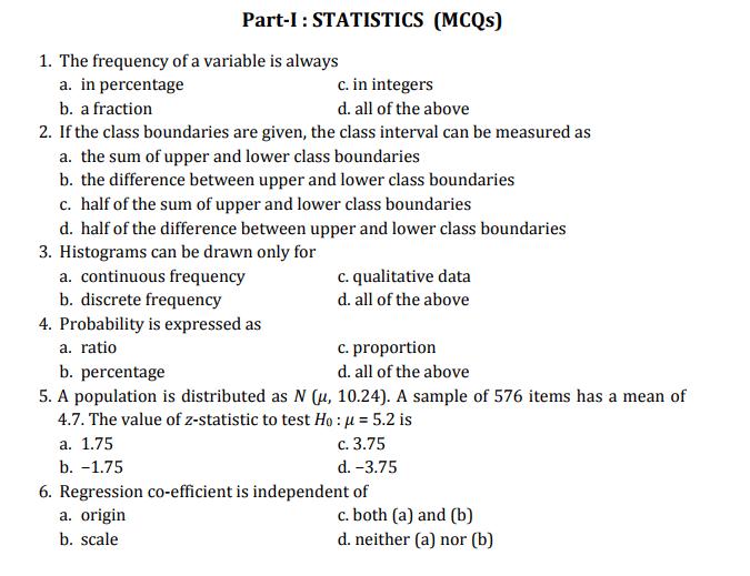 FPSC Statistical Assistant Test Sample Paper