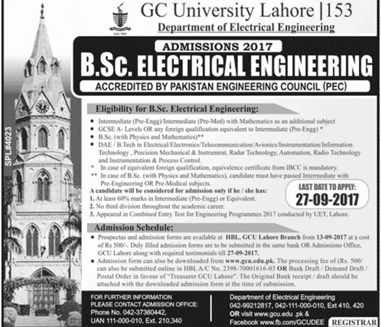 GC University Lahore Electrical Engineering Admission 2017