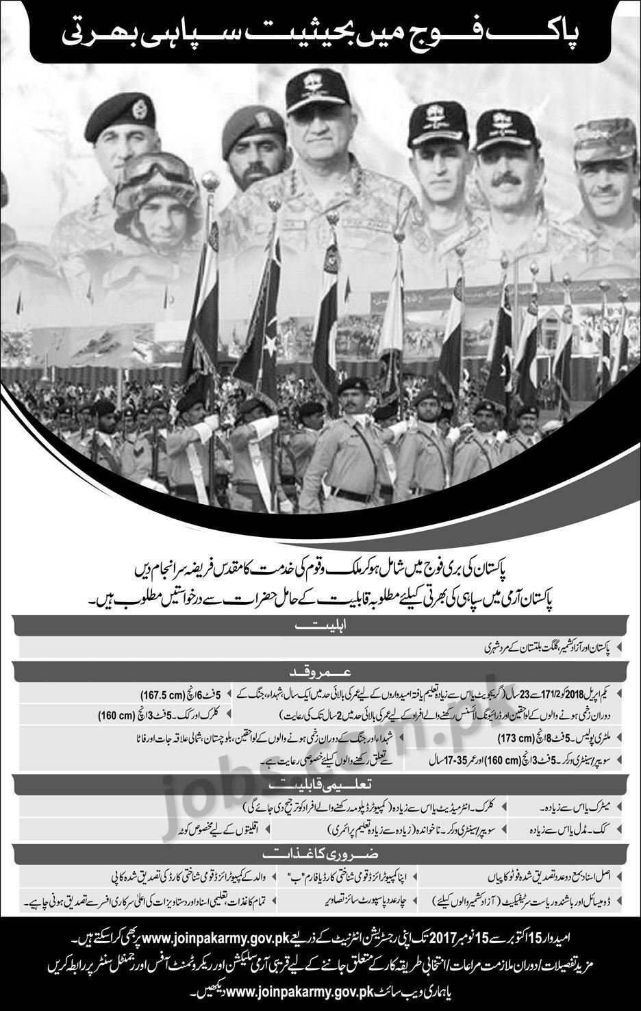 Join Pakistan Army As Sepoy 2018 Male Candidates Advertisement