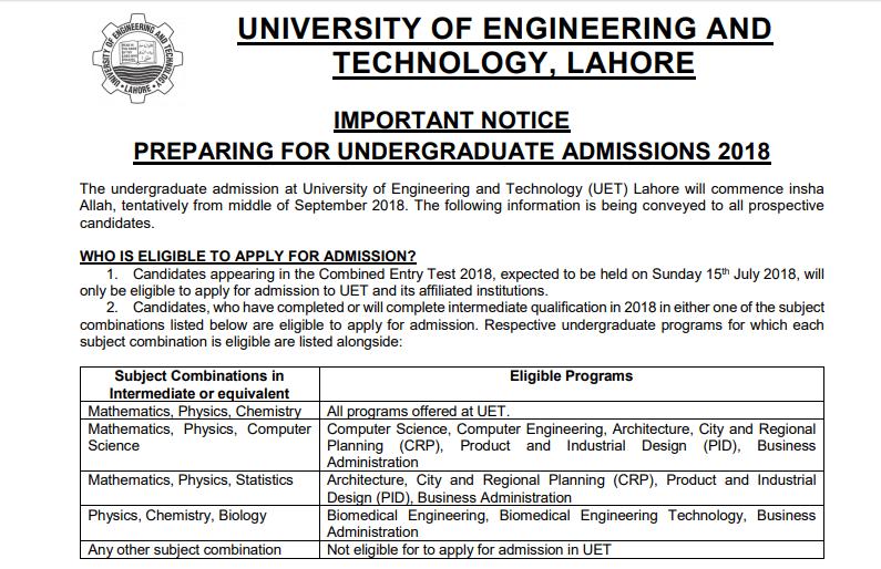 UET Lahore Admission 2018 Eligibility Criteria