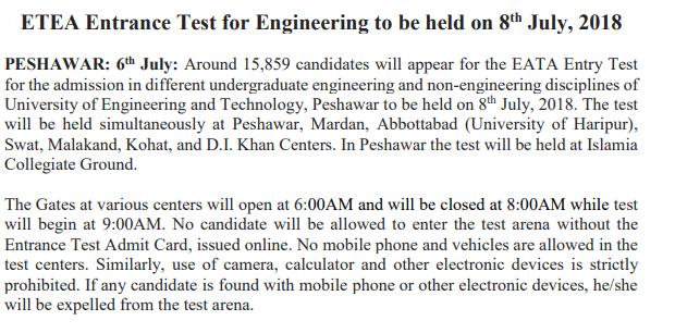 UET Peshawar Answer Key 2018 ETEA